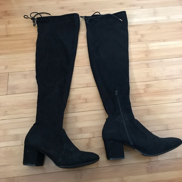 556cd7207e8 Black Faux Suede Over the Knee Boot with tie! M 5bc3b7015c4452bb50256c0f